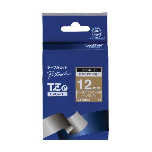 ピータッチ おしゃれテープ サテンゴールド(つや消し)ラベル TZe-MQ835 [白文字 12mm×5m]