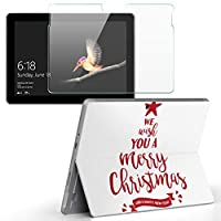 Surface go 専用スキンシール ガラスフィルム セット サーフェス go カバー ケース フィルム ステッカー アクセサリー 保護 クリスマス ツリー 英語 013858