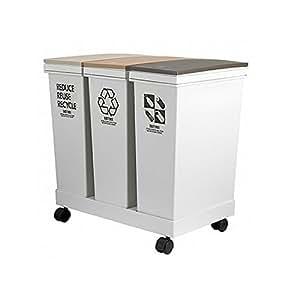 Amazon.co.jp : アスベル 資源ゴミ横型3分別ワゴン 各20L : ホーム&キッチン