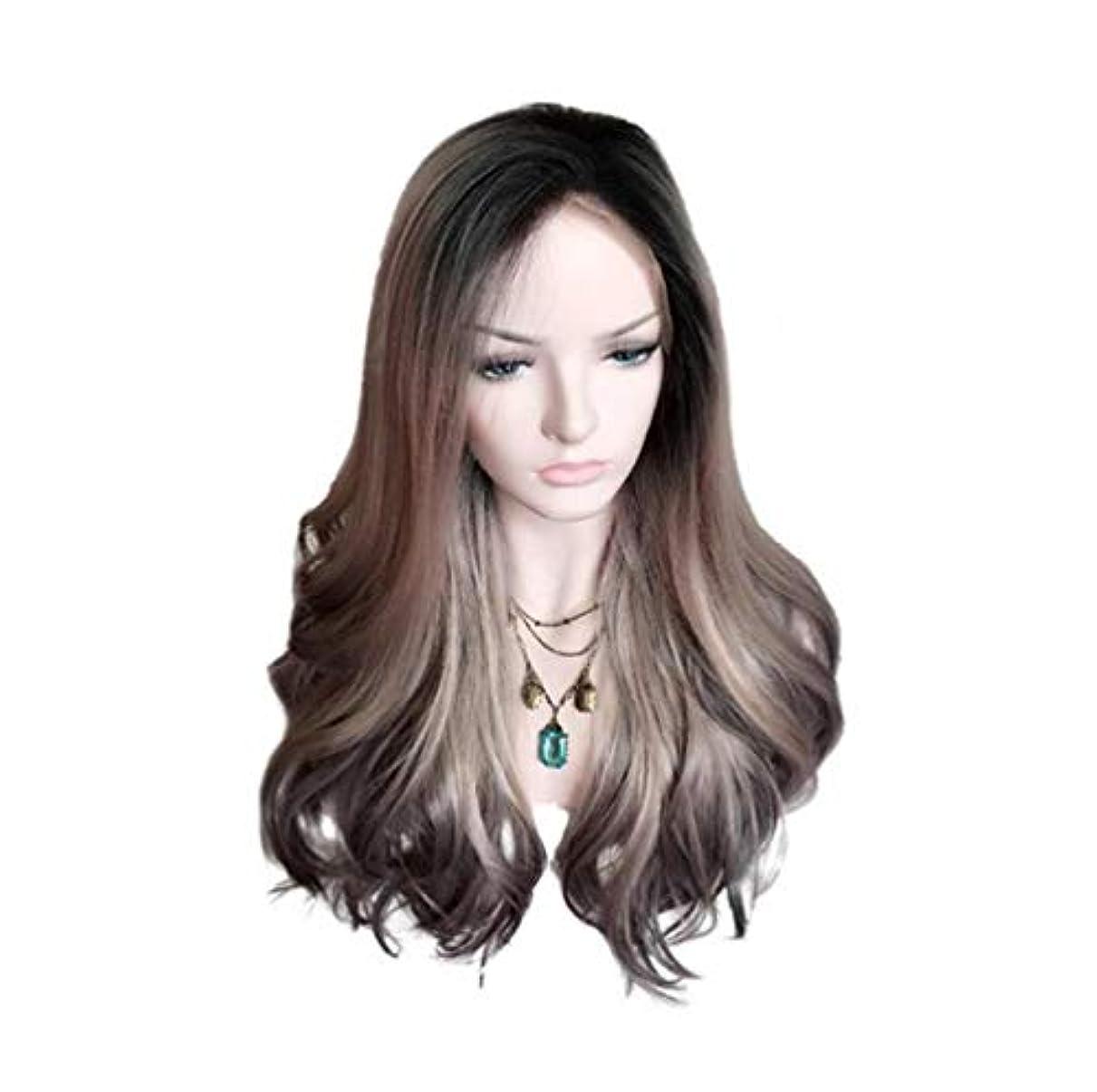 あたたかいパズルパッケージ女性ブラジルウィッグ150%密度ロングカーリーウィッグ波状かつら合成耐熱パーティーウィッググラデーション55cm