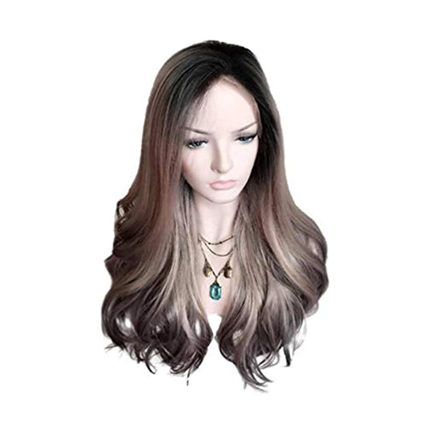 知覚蒸留賛辞女性ブラジルウィッグ150%密度ロングカーリーウィッグ波状かつら合成耐熱パーティーウィッググラデーション55cm