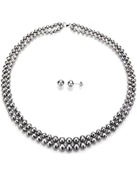 "Sterling Silver Graduated 4-8.5mm 2-rows Freshwater Cultured Pearl Necklace 18"" and Stud Earrings"