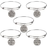 5-Pack Stainless Steel Charm Bracelets Best Friendship Gifts for Friend Women Female Bracelets for Teen Girls Birthday Party Favors-Funny-Graduation Gift-Inspirational