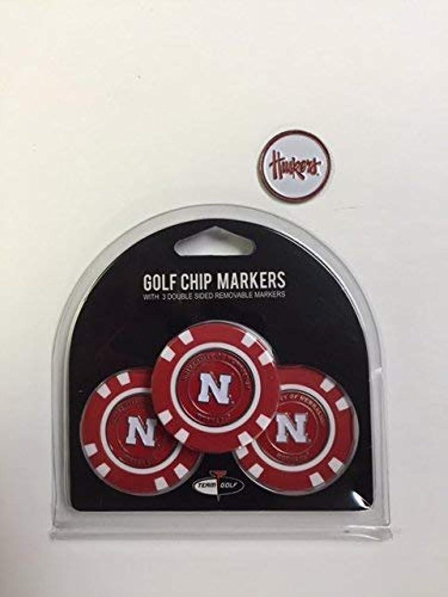 画像交じる捨てるNebraska Cornhuskers Poker Chips 3パックwithボーナスマーカー
