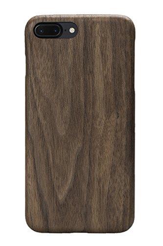 PITAKA® iPhone7Plus用ケース・アイフォン7Plus木製 カバー 天然木 高級 人気 スリム 耐衝撃 保護 ウッドケース 強化ガラスファイル付き (黒くるみ)