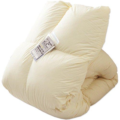 タンスのゲン 羽毛布団 ダブル 国産 7年保証 ホワイトダックダウン90% 350dp(かさ高145mm)以上 消臭抗菌 国内パワーアップ加工 CILシルバーラベル ベージュ 10119002 16