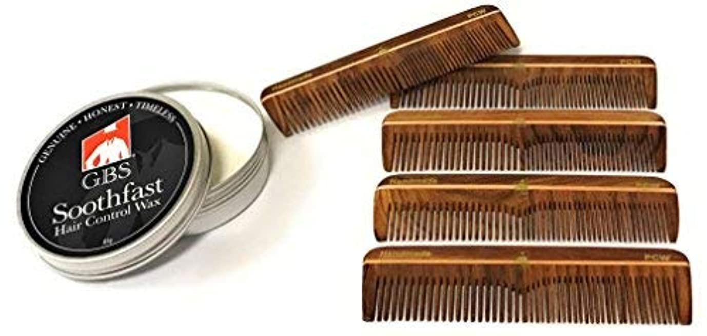 GBS Men's Hair Care Set - Soothfast Hair Control Wax in Tin Travel Container & Pack of 5 Natural Wood Pocket Comb...