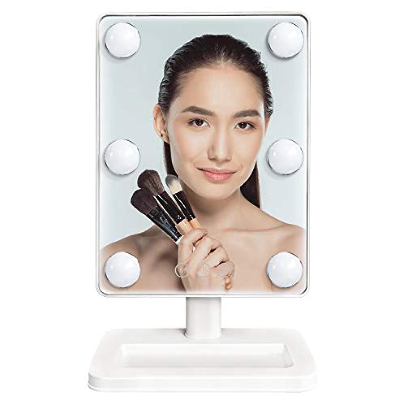 鏡 スタンドミラー 卓上ミラー led付き 女優ミラー 明るさ調節可能 電球が6個 化粧鏡 360°回転 3色調光ハリウッドミラー 電池&USB 2WAY給電 Luuhann (ホワイト)