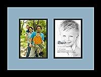ArtToFrames アルファベット写真画像フレーム  4x6インチ開口部2つとサテンブラックフレーム 2 - 5x7 ブルー Double-Multimat-35-716/89-FRBW26079