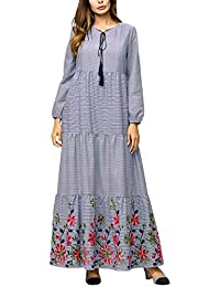 11812b1e71741 女性の イスラム 長袖 チェック Caftan - カジュアル 大きなサイズ Muslim Abaya Dress ...