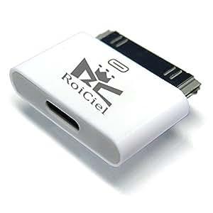 RoiCiel ロイシエル[Lightning 変換コネクタ ] Lightning(メス)-iDock(オス)iPhone6からiphone4へ変換コネクタ 充電器 充電アダプター 8pin Lightning DOCK iphone6 /iphone5iPad mini iPod Lightning 30ピンアダプタ iphone4s/4