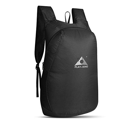 WATERFLY リュックサック 折畳み 超軽量 20L リュック トラベル収納バッグ バッグ リュックサック コンパクト ポータブル 防水 旅行 収納 買い物 登山 アウトドア 6色選択 ブラック