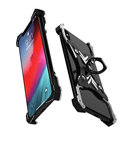 リング付き iPhoneXS Max iPhoneXR ケース バンパー アルミ バンカーリング付き リングケース メンズ 格好いい 落下防止 アルミケース アイフォンXS MAX マックス アイフォンXR リング付きケース アウトドア 片手操作 スタンド リング 個性 (iPhoneXR)