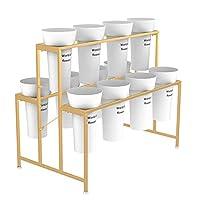 北欧ゴールデンフロアスタンド - 12のプラスチックフラワーバレルと錬鉄2層ディスプレイスタンド、ホーム、ショップの装飾に適し (Color : White bucket - A)