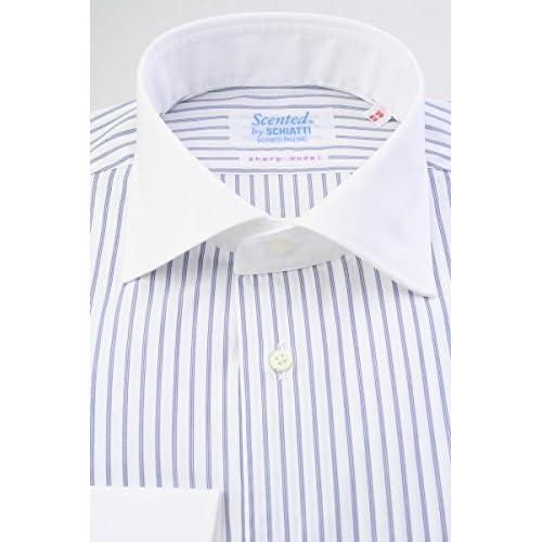 (スキャッティ) Scented 白地 ネイビー ストライプ クレリック 綿100% 80番手双糸 ワイドカラー (細身) ドレスシャツ wd4149-4185