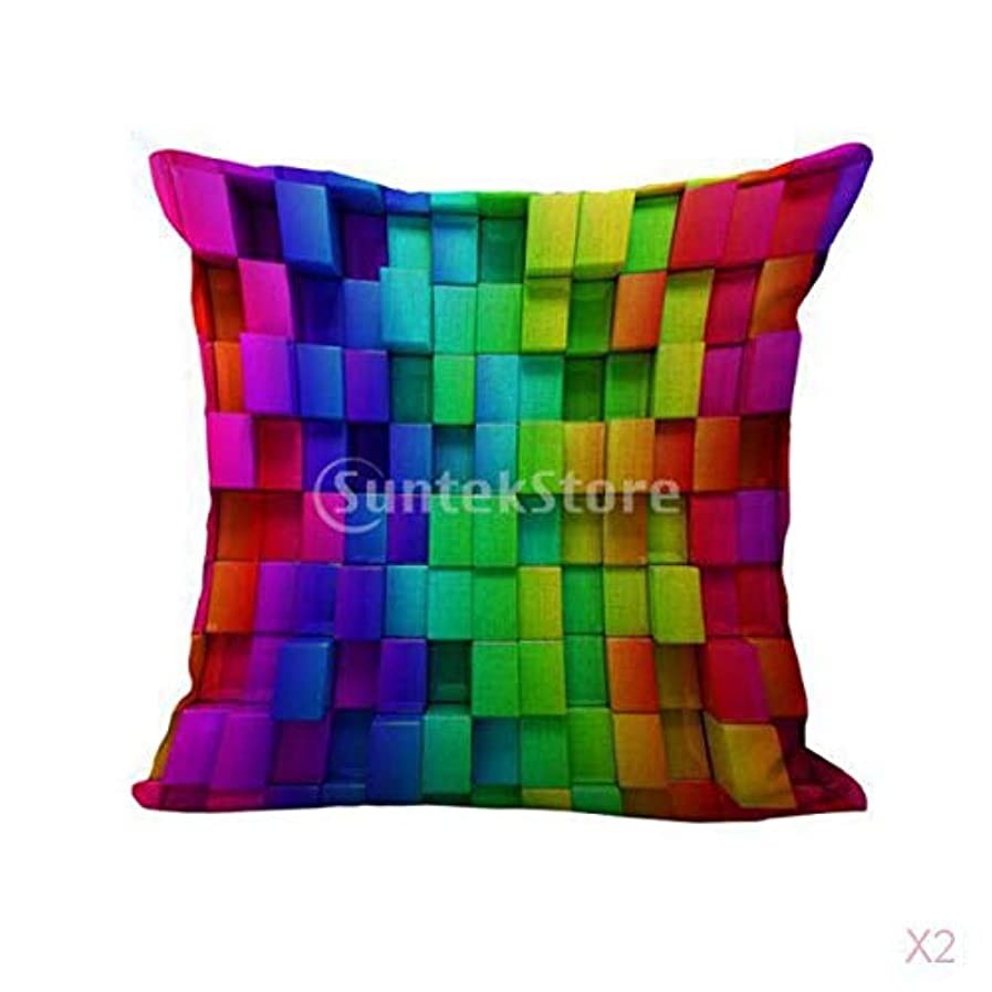 メリー魂チャップFLAMEER 織グリッドプリントコットンリネンスローピローケース虹クッションカバー装飾