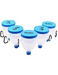 プロテインサプリメント携帯容器-QuiFit ファンネル 粉末サプリメント小分け携帯用漏斗-スカイブルー-BPAフリー (5)
