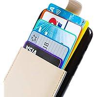 K.M.SELECTION カードケース カードポケット SUICA 5枚収納 カード入れ ケース iphone スマホ 背面 カードホルダー 貼り付け (ベージュ)