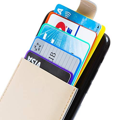 K.M.SELECTION カードケース カードポケット SUICA 5枚収納 カード入れ ケース iphone android対応 スマホ 背面 カードホルダー ワンタッチロック 貼り付け (ベージュ)