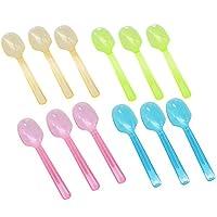 Huele 100カウント透明ミックスプラスチックGelatoスプーンMini使い捨てMini透明Gelato Spoons for Tasting and ServingジェラートアイスクリームFrozen Desserts