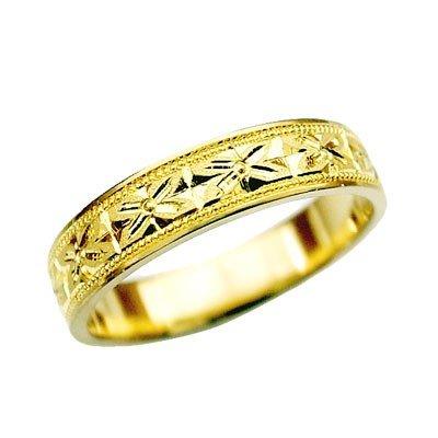 K18 指輪 鍛造(たんぞう) 平打(ひらうち)オレンジスイート彫リング巾4mm4g ゴールドリング 彫金 マリッジ 結婚 記念日 プレゼント オリジナル(7号)