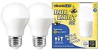 Miracle LEDイエローバグライトMax–replaces 100W–a19アウトドア電球のポーチとパティオ–2パック( 606758)