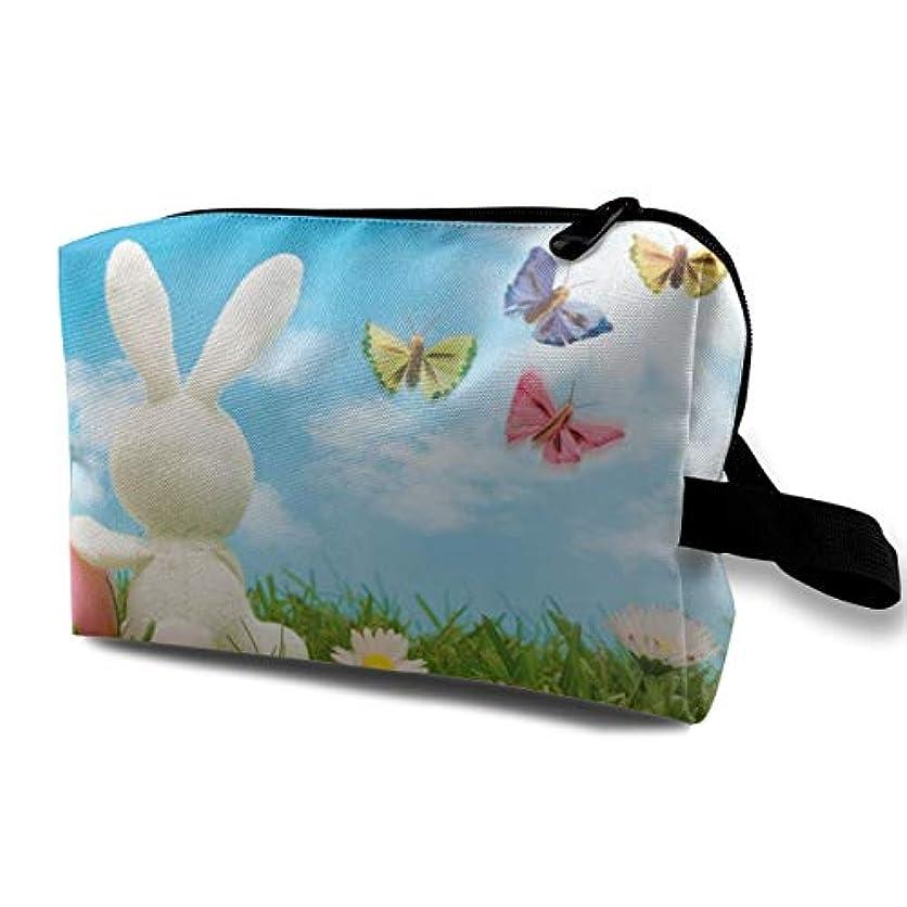 トリッキーダンプ絶対にNature Blue Sky Spring Rabbit Easter 収納ポーチ 化粧ポーチ 大容量 軽量 耐久性 ハンドル付持ち運び便利。入れ 自宅?出張?旅行?アウトドア撮影などに対応。メンズ レディース トラベルグッズ