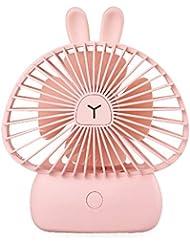 goupgolboll-かわいいウサギLEDナイトライトUSB充電ポータブルミニ冷却ファンサマークーラー - ピンク