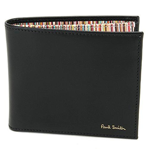 ポールスミス Paul Smith 正規品 財布 二つ折り財布 メンズ ブラック(黒)×マルチストライプ APXA 4833 W761 B