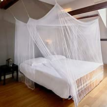 EVEN Naturals Luxury MOSQUITO NET for Bed Canopy, Large Tent for Full, Double to King Size, Finest Holes, Square Box Netting Curtain, 2 Entries, Easy to Install, Hanging Kit, Storage Bag, No Chemicals Added