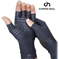 COPPER HEAL Arthritis Compression Gloves - BEST Medical Copper Gloves GUARANTEED to work for Rheumatoid Arthritis, Carpal Tunnel, RSI, Osteoarthritis & Tendonitis - Open Finger (Large)