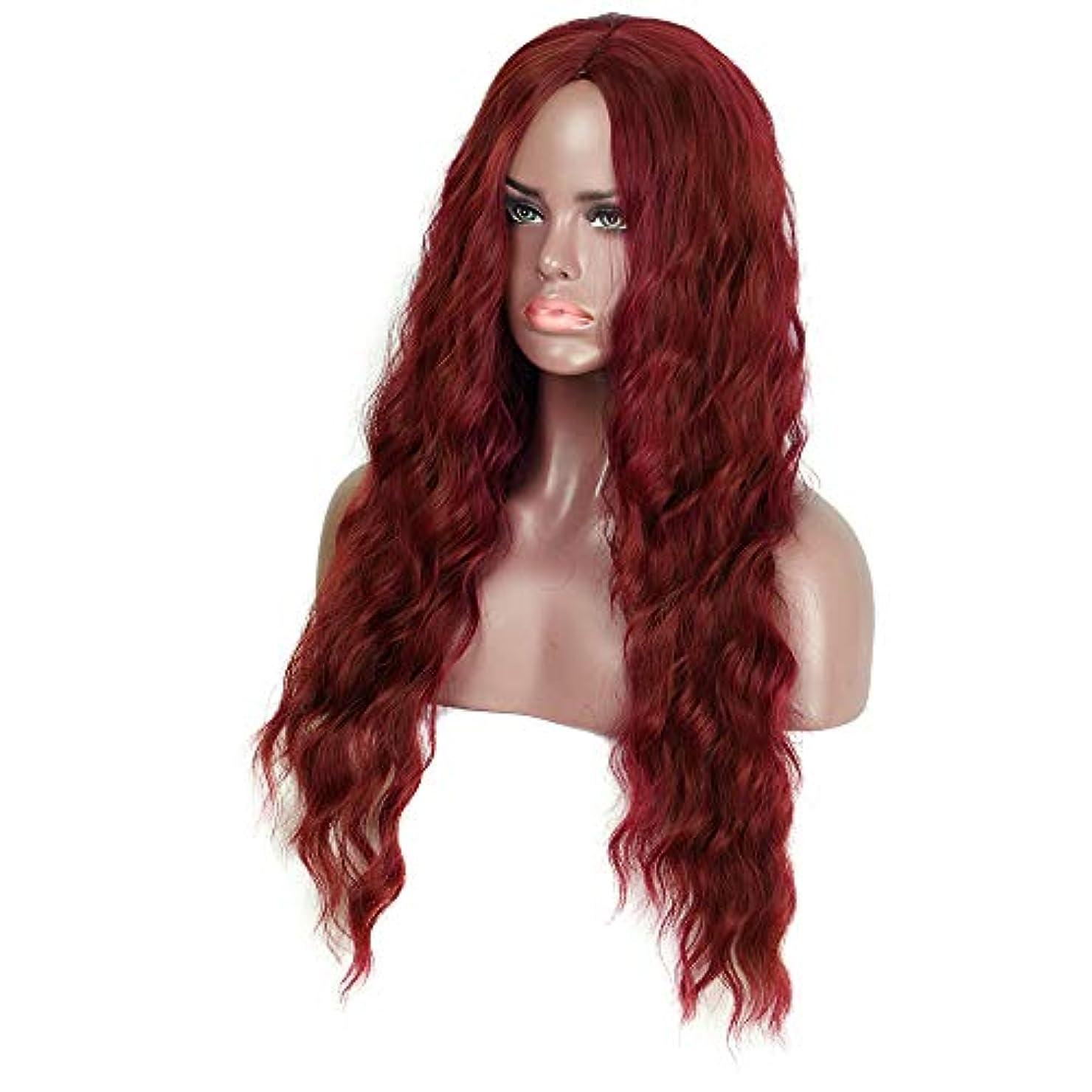 突然崇拝しますこんにちはウィッグレディースロングビッグウェーブヘア30インチダークワインレッドウルトラソフトナチュラルロングレッド人工毛ウィッグ女性用耐熱繊維パーティーコスプレアクセサリー