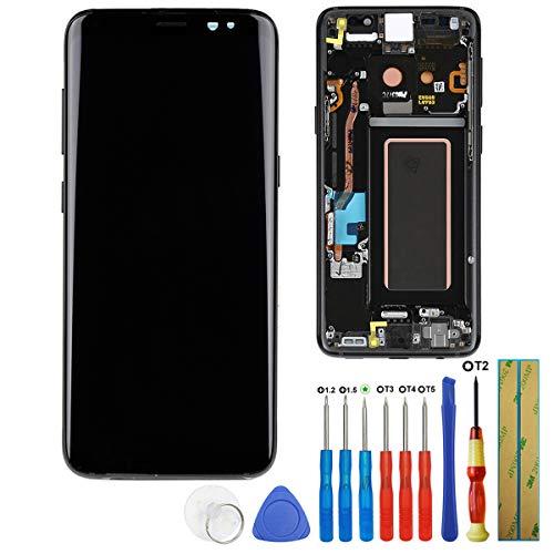 E-yiiviil 交換用 AMOLCD ディスプレイ タッチスクリーン デジタイザー サムスン Galaxy S8 G950F G950A G950P G950V G950T G950R4用 (ブラック+フレームに接着剤付き