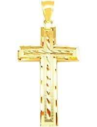 メンズ10 Kイエローゴールドクロスペンダントダイヤモンドカットゴールド十字架チャーム