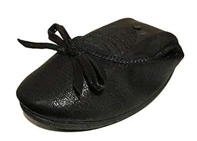 [ブブ オーハナ] 折りたたみ パンプス フラット 上履きとしても 柔らかい 歩きやすい レディース (22.5, 黒)