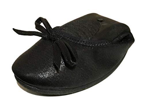 [ブブ オーハナ] 折り畳み フラットパンプス バレエシューズ ローヒール ヒールなし 靴 携帯 (24, 黒)