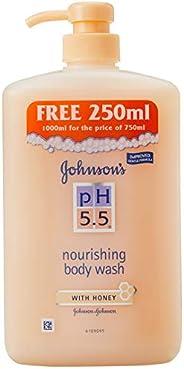 Johnson's PH 5.5 Nourishing Body Wash with Honey, 750ml+ 250ml (F