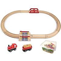 Mille Ti Rana 木 おもちゃ 汽車 電車 木製 線路 レール パズル 知育 玩具 (踏切 セット)