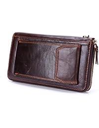 メンズロングウォレットレザーウォレットカウハイドウォレットバッグビジネスハンド カード収納 (Color : Dark brown)