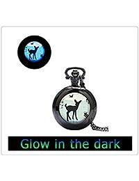鹿のペンダントを見て輝く、鹿はネックレス、鹿はジュエリーウォッチ、鹿動物の時計ネックレス、動物の時計宝飾品、キッズジュエリー子供、赤ちゃん子鹿