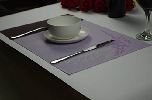 Miya 4枚セット 高品質 和風  ランチョンマット プレースマット テーブルマット 撥水 防汚 丸洗い お手入れ 簡単 滑り止め 摩擦 耐える 断熱 飾り 食卓 上品 雰囲気 PVC製 大人 子供 対応 家庭 レストラン 用 (花柄・パープル)