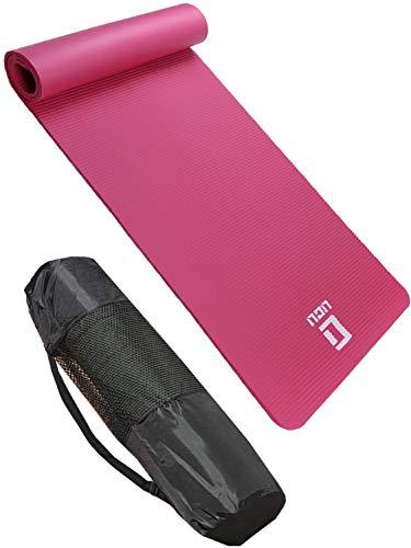 LICLI ヨガマット おりたたみ トレーニングマット エクササイズマット ヨガ ピラティス マット 厚さ 10mm 「 ストラップ 収納ケース付 」「 ニトリルゴム 滑り止め マットバッグ 」 7カラー (ピンク)