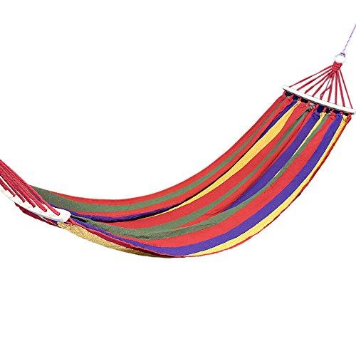 Domon ハンモック ロープと収納袋付き1人用&2人用 赤 80cm