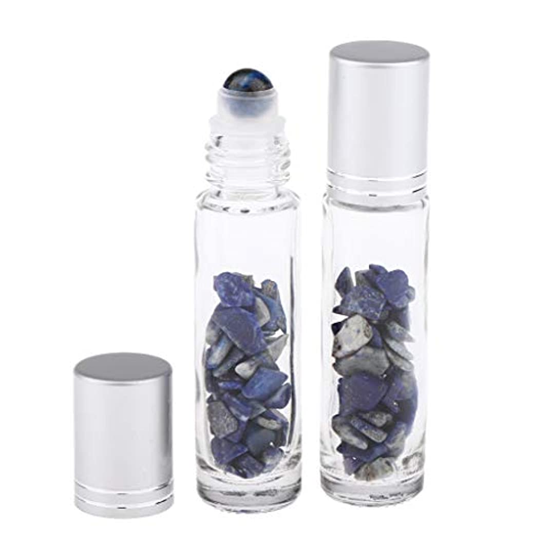 Hellery 10ml ガラスボトル 香水ボトル 精油瓶 アトマイザー 詰替え ロールオンボトル 天然石 2個 - ラズライト