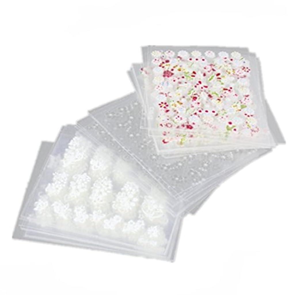 バッフルポーン鋸歯状TOOGOO 50枚 3Dネイルアートステッカー ミックスカラーの花パターン