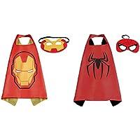 Ironman &スパイダーマンコスチュームケープ – 2種、2マスクwithギフトボックスbyスーパーヒーロー