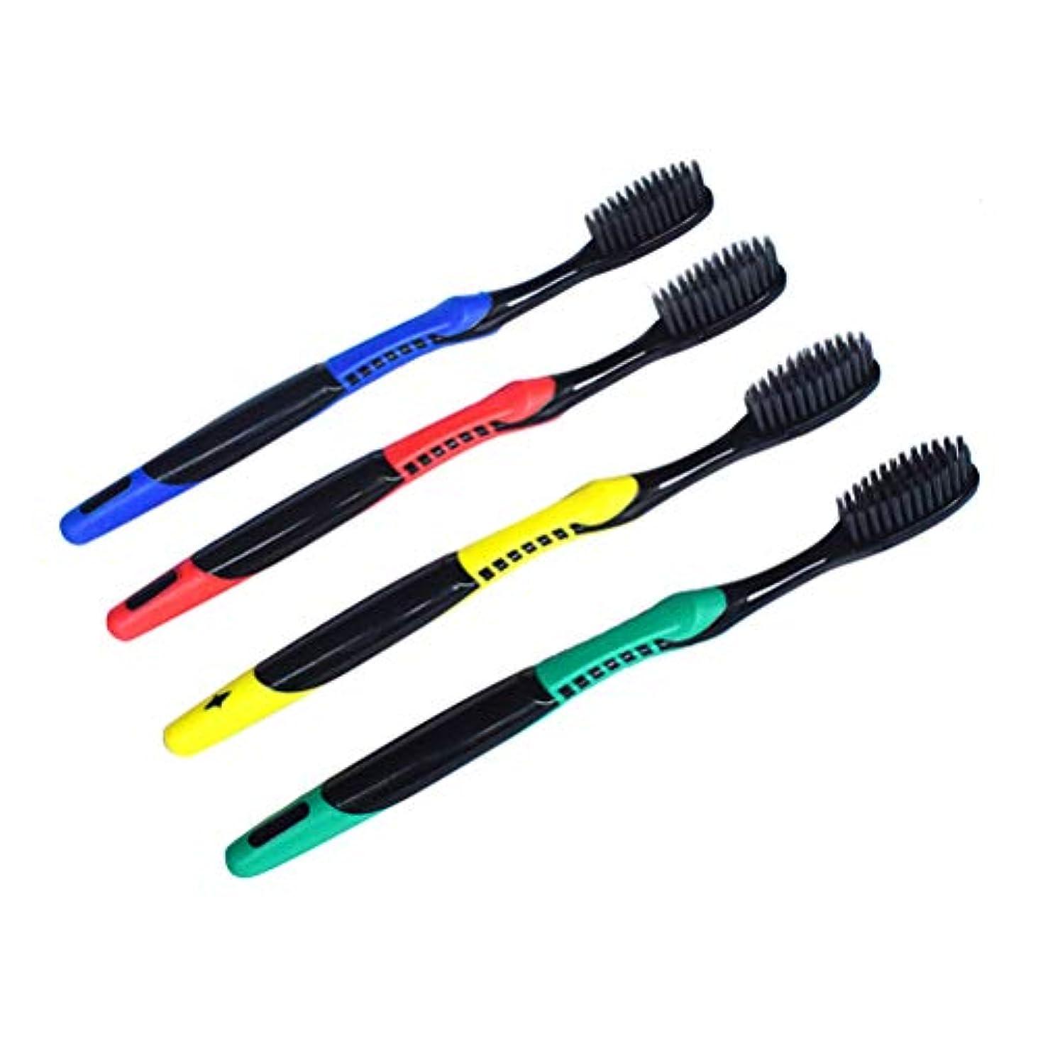 ワイプまたタイルHealifty 家庭用電車旅行用ソフト環境に優しい歯ブラシ8PC竹炭パッパス歯ブラシ(混色)