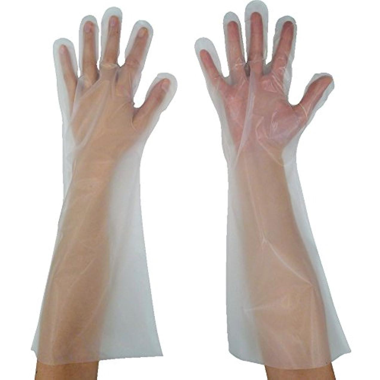 撃退するオフェンスバインド東京パック 緊急災害対策用手袋ロング五本絞りL 半透明 KL-L ポリエチレン使い捨て手袋