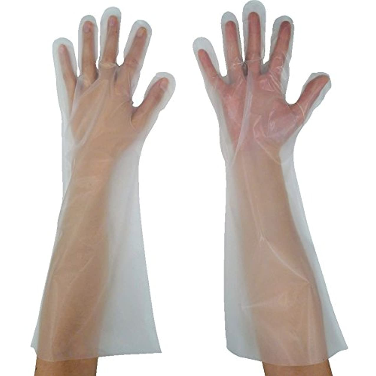 弁護すなわちセットする東京パック 緊急災害対策用手袋ロング五本絞りL 半透明 KL-L ポリエチレン使い捨て手袋