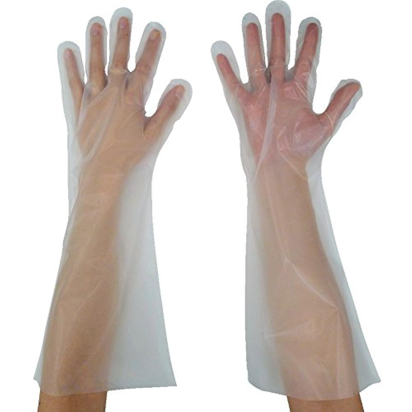 チップフリル偽装する東京パック 緊急災害対策用手袋ロング五本絞りM 半透明 KL-M ポリエチレン使い捨て手袋
